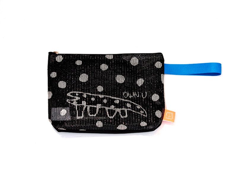 DOT LIZARD MESH CLUTCH  BLACK