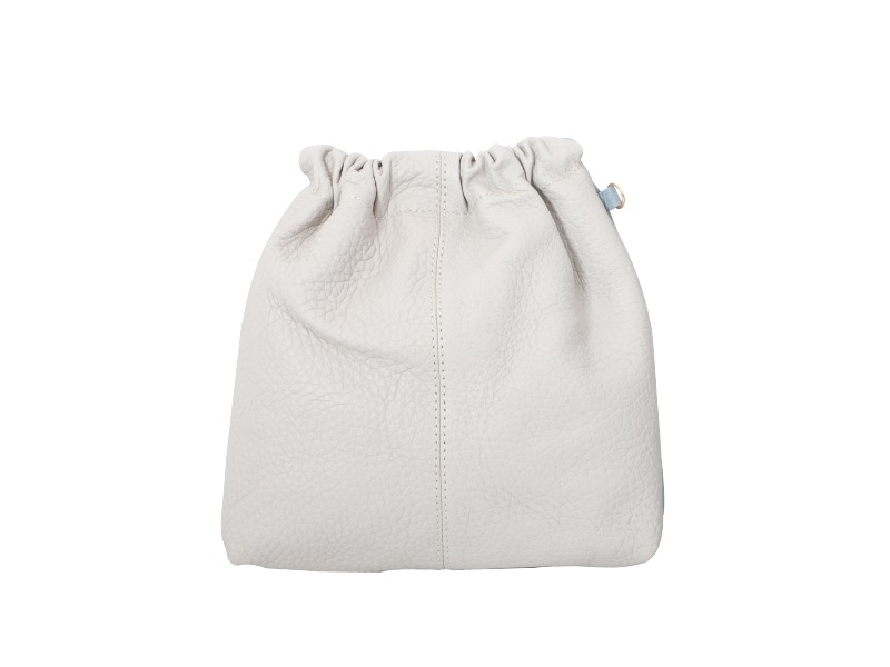 Sofa Series ; Leather Combi Bucket Bag (White + Cloud)