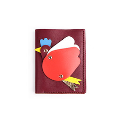 SALE ! Flying Hen Mini Wallet _ Wine