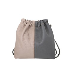 Sofa Series ; Leather Combi Bucket Bag (Warm Gray)