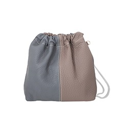 Sofa Series ; Leather Combi Bucket Bag (Gray)